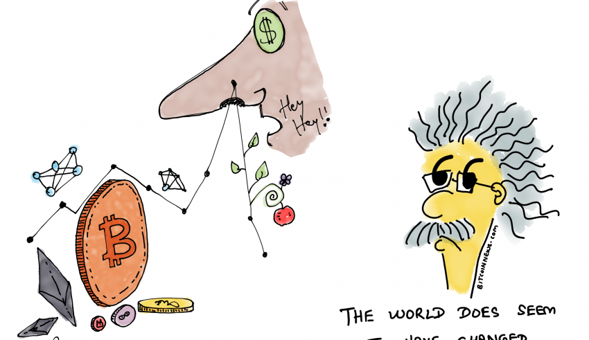 Cartoon: Einstein meets cryptocurrency in 2019 cartoon