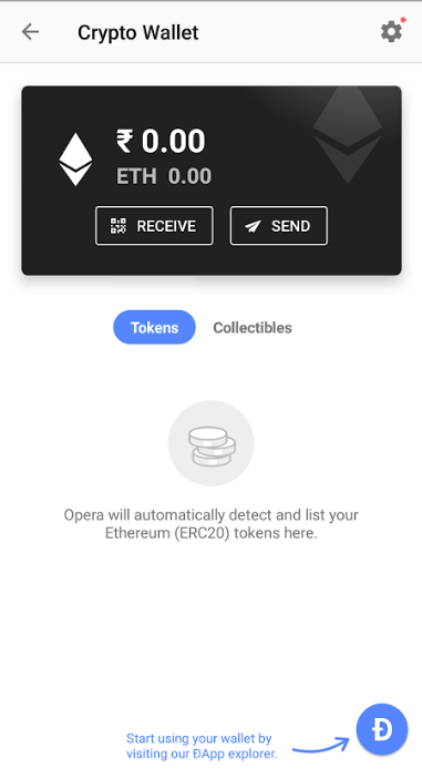 Option to send and receive ETH through the DApps on Opera