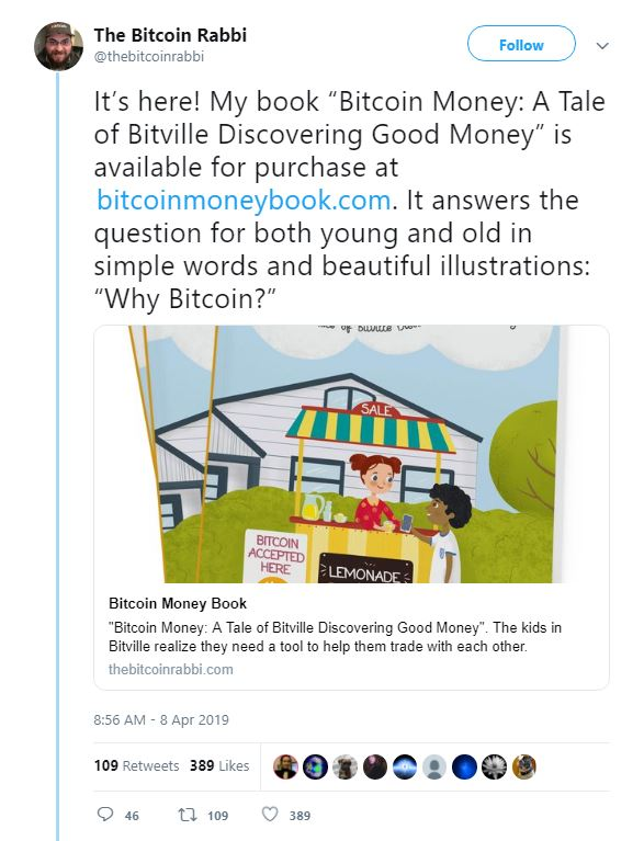 Tweet announcing release of the book: Bitcoin Money