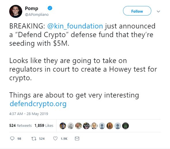 Kin Foundation Takes on SEC with Project 'Defendcrypto' and Initial Funding of  Million