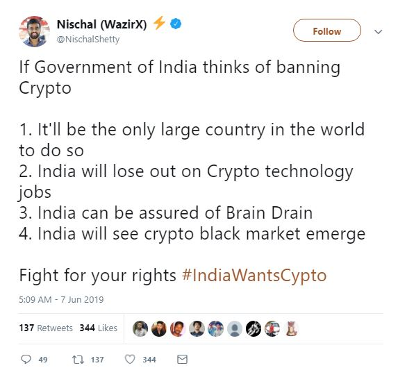 Indian community stands against crypto ban
