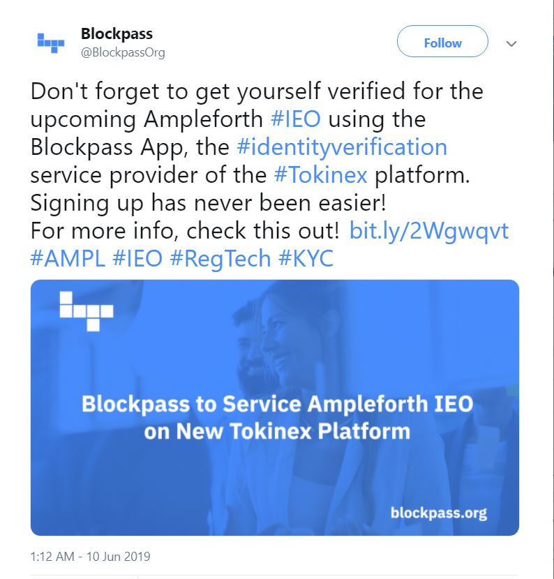 Blockpass announces identity verification services for Ampleforth IEO on tokinex