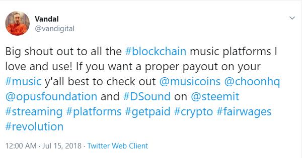 General audience endoring blockchain-based music platforms